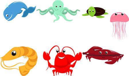 illustration of marine animals cartoon Vector