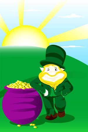 st patrick day:   illustration of a leprechaun with pot of gold celebrating St Patrick day
