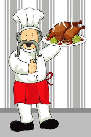 food industry:   illustration of a restaurant chef carrying a plate of a roast chicken meal