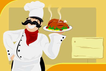 pollo caricatura: Una ilustraci�n vectorial de un chef del restaurante llevar un plato de una comida de pollo asado
