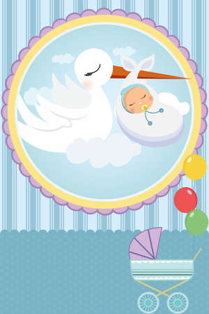 A vector illustration of a baby shower card