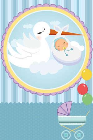 Een vectorillustratie van een baby douche-kaart