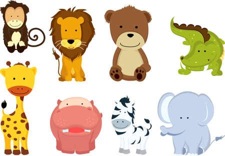 A vector illustration of different wild animals cartoons Vettoriali