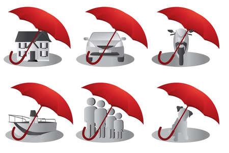 illustratie van een set van verzekering concept voor het huis, mensen, auto, huisdier, motorfiets en boot