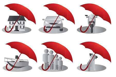 illustration of a set of insurance concept for house, people, auto, pet, motorcycle and boat Иллюстрация