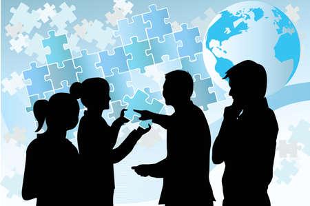 illustratie van een groep mensen uit het bedrijfsleven probeert een puzzel op te lossen