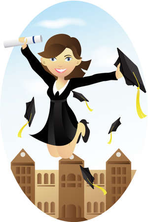college girl: illustration of a happy student celebrating her graduation
