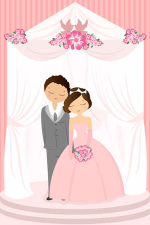 happy couple: illustration of a bride and a groom celebrating their wedding