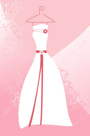 A vector illustration of a wedding dress