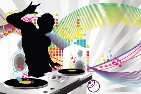 A vector illustration of a music DJ playing music Vettoriali