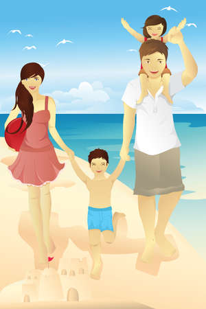 family holiday: A Vector illustration of a family spending time on the beach