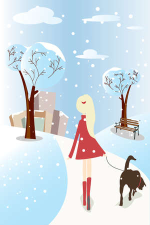 winter woman: A Vector illustration of a girl walking her dog in a park Illustration