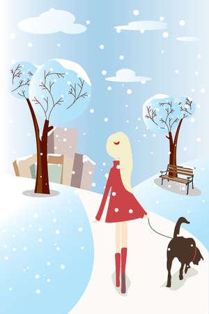 Een Vector illustratie van een meisje lopen haar hond in een park