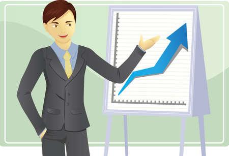A Vector illustration of a businessman giving a presentation