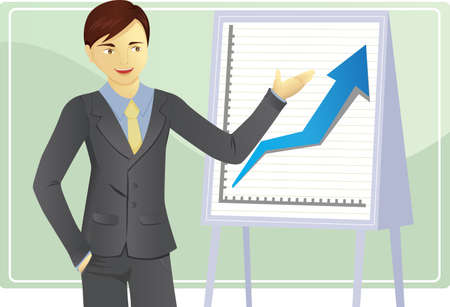 sales executive: Una ilustraci�n vectorial de un empresario de una presentaci�n