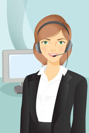 customer service phone: A Vector illustration of a businesswoman wearing a headset Illustration