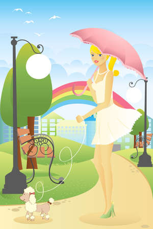 A Vector illustration of a beautiful woman walking her dog