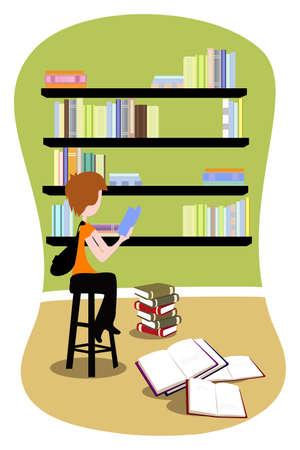 Een vectorillustratie van een student studeert in de bibliotheek
