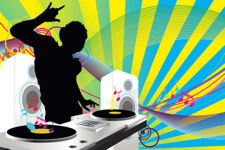 speakers: A Vector illustration of a music DJ playing music