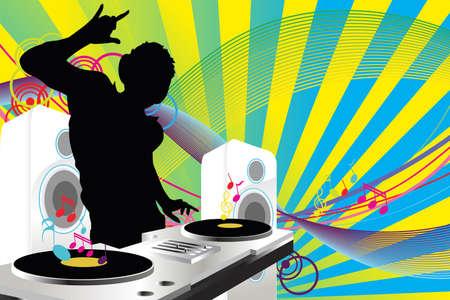 party dj: Une illustration d'une musique musique de DJ � jouer Illustration