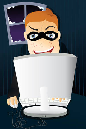 A Vector illustration of computer criminal stealing identity Stock Vector - 8845609