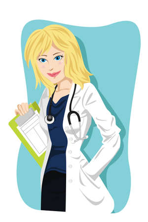 medical drawing: A Vector illustration of a female doctor Illustration