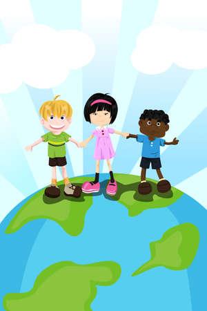 Een vectorillustratie van etnische kinderen multi hand in hand voor diversiteit concept Stock Illustratie