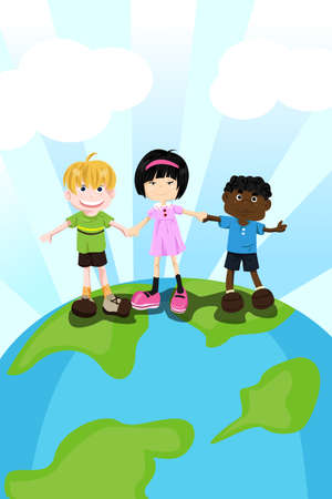 A Vector illustration of multi ethnic children holding hands for diversity concept