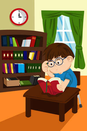 A Vector illustration of a boy student studying and reading a book in the library