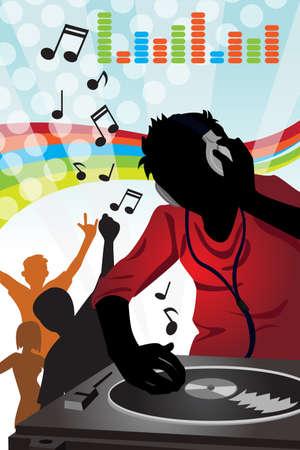 tocando musica: Una ilustraci�n vectorial de una m�sica tocando m�sica de DJ Vectores