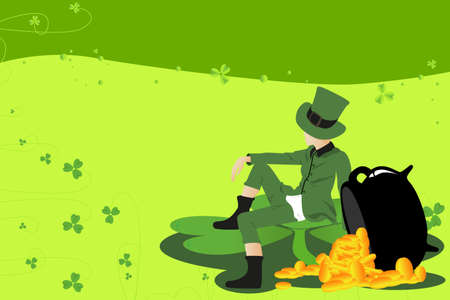 A Vector illustration of a leprechaun and pot of gold celebrating St Patrick day Vector