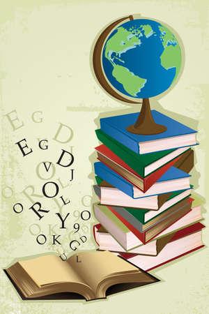 Een Vector illustratie van een stapel boeken op de tafel voor onderwijs thema Stock Illustratie