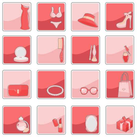 Ein Vektor-Illustration einer Sammlung von Schönheit Mode-Ikonen Standard-Bild - 8845636