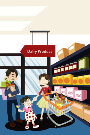 Una ilustración vectorial de una familia haciendo compras de comestibles