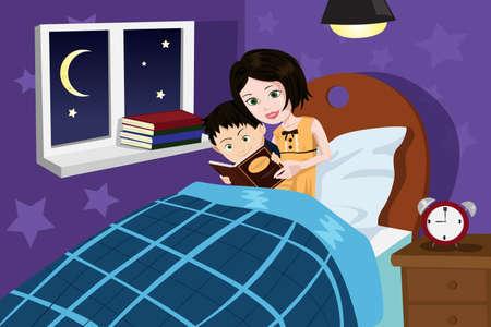 Een vectorillustratie van een moeder lezing verhaaltje aan haar zoon Stock Illustratie