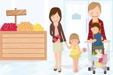 mujer en el supermercado: Una ilustración vectorial de una familia haciendo compras de comestibles