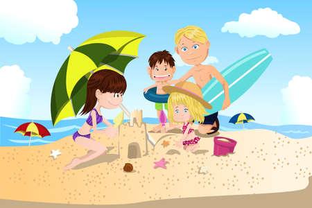 illustratie van een familie vakantietijd doorbrengen op het strand