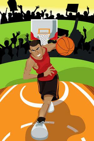 intense: illustration of a basketball player