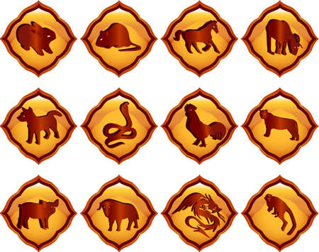 chinese astrology:  illustration of chinese zodiac signs