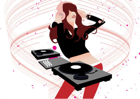 illustration of a music DJ playing music