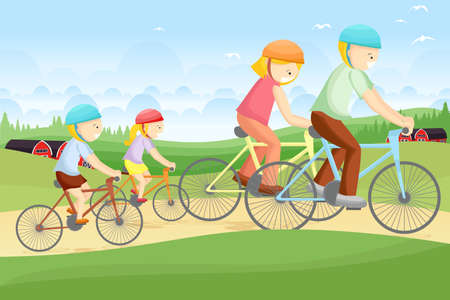illustration of a family biking together in a rural area Vector