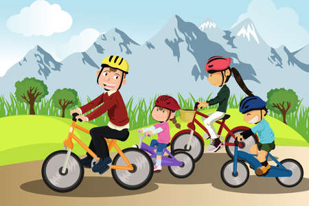 healthy family: illustration of a family biking together in a rural area Illustration