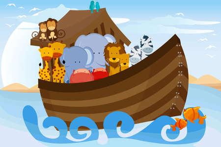 ark: illustration of different wildlife animals on Noahs Ark