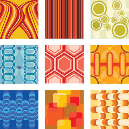 fabrics: illustratie van een set van retro behangpapier Stock Illustratie