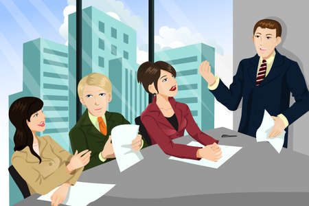 business team meeting: illustration of a business meeting