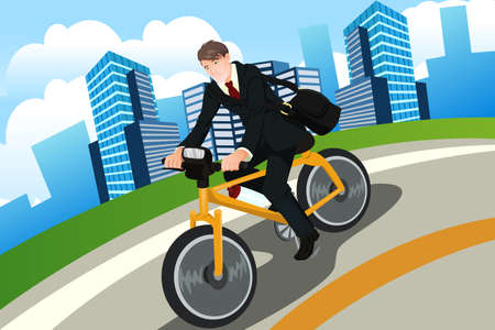 A businessman riding a bicycle Vector