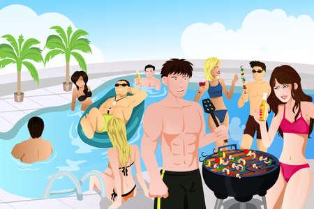 barbecue: jeunes ayant une partie de la piscine et barbecue