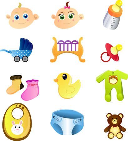 A set of baby items Illustration