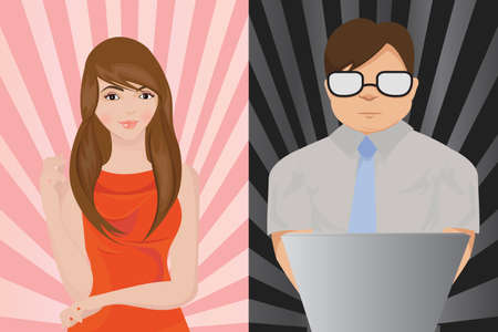 A beautiful girl and a geek Stock Vector - 9040743