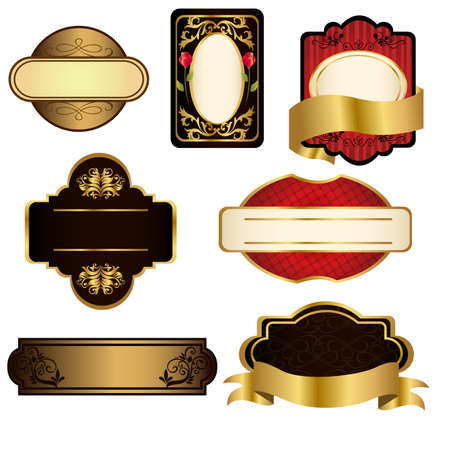 A set of black and gold frames Vectores